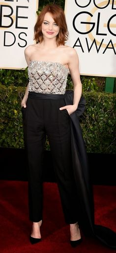 EMMA STONE IN LAVIN  ChicBubbly: Golden Globes Red Carpet 2015