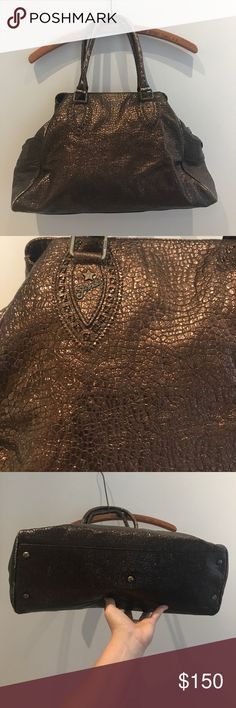 Fendi Authentic fendi de jour metallic bag. 16x5x11. In good condition. Only issue is some wear on the edges and handles. Doesn't take away from how gorgeous it is Fendi Bags Shoulder Bags
