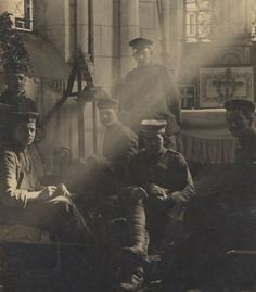 German soldiers bivouacked in a church