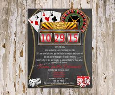 Casino Retirement Party Invitation (JPEG file only) by Pennygirlcreations on Etsy