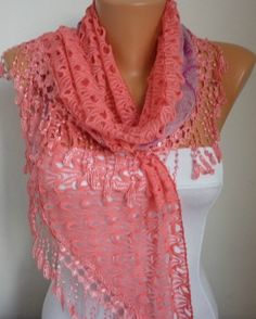 Lace Scarf   scarf shawl    Silvery  Free scarf  Coral  by anils, $19.90