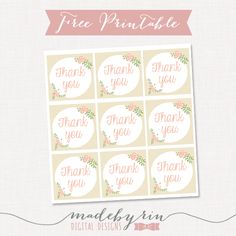 This site has the best free printables for all sorts of parties hello lovelies another new freebie addition floral thank you favorgift tags simply print these out on normal paper and glue th negle Choice Image