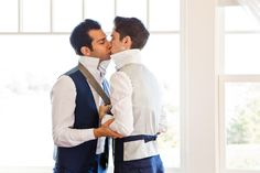 Grooms getting ready together | Blue And White Hamptons Gay Wedding | Equally Wed - LGBTQ Weddings