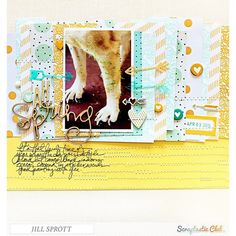 Scrapbook layout created by designer Jill Sprott using the Scraptastic Club Darlene kit + add-on