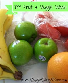 DIY Fruit and Vegetable Wash: 1 cup vinegar, 1 cup water, 2 tablespoons baking soda, 2 tablespoons lemon juice Combine all of the ingredients above in a spray bottle and shake gently. Spray on your produce as needed. Let sit for about 5 minutes and then scrub well or wash as normal.