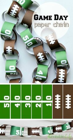 How to Throw a Kid Friendly Super Bowl Party – Pretty My Party – Party Ideas DIY Football Party Game Day Paper Chain Idea. See more kid-friendly Super Bowl Party Ideas on www. Football Banquet, Football Tailgate, Football Themes, Football Birthday, Sports Birthday, Sports Party, Football Season, Football Crafts, Football Decor