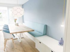 EATHOEK: Bank against wall and storage - - # . Kitchen Furniture, Kitchen Dining, Plywood Interior, Dining Table With Bench, Sofa Bench, Sweet Home, Home And Garden, Living Room, Storage