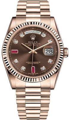 Rolex Day-Date 36 Everose Gold Diamond Chocolate Dial President Watch Rolex Oyster Day-Date 36 mm Everose Gold Diamond Ruby Chocolate Dial President Bracelet Midsize Watch Reference Rolex Watches For Men, Luxury Watches, Women's Watches, Rolex Datejust, Stylish Watches, Cool Watches, Casual Watches, Rolex Day Date, Swiss Army Watches
