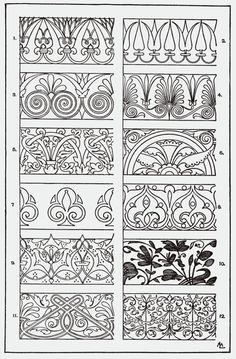 Franz Sales Meyer - A Handbook of Ornament - 1898 Motifs Art Nouveau, Art Nouveau Pattern, Border Design, Pattern Design, Embroidery Designs, Motif Floral, Pyrography, Islamic Art, Tangle Patterns