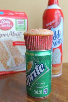 Shirley Temple Cupcakes: 1 Cake Mix (I used Cherry Chip), 1 12 oz can of Soda (I used Sprite), 1 can Whipped Cream
