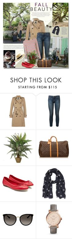 """Fall beauty..."" by nannerl27forever ❤ liked on Polyvore featuring Burberry, Current/Elliott, Louis Vuitton, Salvatore Ferragamo, Gucci and FOSSIL"