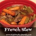French Stew (Freezer to Crockpot)    French Stew  3 pounds beef stew meat  1 10.75 oz can beef consommé  3 large peeled & sliced carrots  1 can green beans, drained  2 10 oz packages of peas and pearl onions (or just use peas and chop some onions)  1 16 oz can peeled tomatoes  1 c. water  1/3 c. red wine vinegar  1 T brown sugar  ½ c. bread crumbs  1 bay leaf  1 T salt  ¼ t. pepper  Freeze together.  On cooking day, thaw and put in crockpot on low for 8 hours or high for 4.
