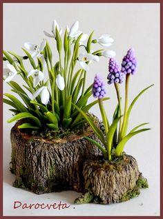Цветы из полимерной глины - Первенцы весны