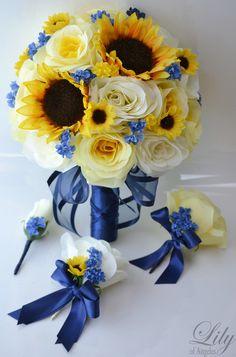 Blue Gold Ivory Multicolor Yellow Bouquet Boutonniere Centerpiece Corsage Decor Rose Sunflower Wedding Flowers Photos & Pictures - WeddingWire.com