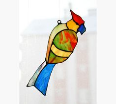Parrot stained glass home decorative piece Tiffany by EMuuGallery, $29.00