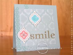 Having a coordinated product suite really makes creating fun and easy.  This card uses some of the products from the Quatrefancy Suite, found on page 120 of the Annual Catalogue.  I used the Mosaic Madness stamp set, the matching Mosaic Punch and layered them over the Modern Mosaic Embossing Folder.  To get that lovely textured background, I used the Pool Party Core'dinations card stock and sanded the surface after embossing.