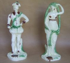 A fine and rare pair of large Leeds creamware figures of Hamlet and Ophelia
