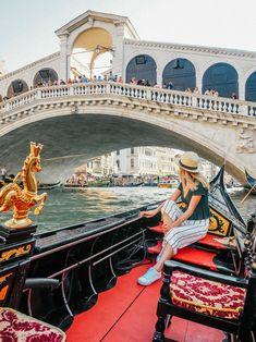 Experience Venice, Italy From Dusk to Dawn: A Photo Tour — When She Roams - Gondola ride near Rialto Bridge, Venice, Italy, 2018 - Gondola Venice, Venice Italy, Venice Travel, Italy Travel, Venice Photography, Photography Poses, Rialto Bridge, Dusk To Dawn, Italy Vacation