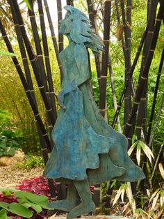 Woman in Blue by Tracie Monk visits the Bamboo Garden, San Diego Botanic Garden San Diego Botanic Garden, Bamboo Garden, Botanical Gardens, Serenity, Garden Sculpture, Woman, Outdoor Decor, Blue, Ideas
