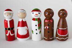 CHRISTMAS Peg Doll Set by TwoWildOlives on Etsy https://www.etsy.com/listing/226456724/christmas-peg-doll-set