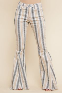 Funky Outfits, Summer Outfits, Printed Denim, Flare Pants, Grey Stripes, Bell Bottoms, Aztec, Brown And Grey, Bell Bottom Jeans
