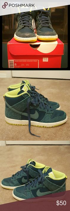 Women's Nike  Dunks Hi Skinny Print Dark Sea and Mineral Teal Color  Gently Worn Also being sold on MERCARI! Nike Shoes