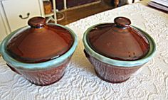 Vintage Zanesville Country Fare stoneware covered jars for sale at More Than McCoy on TIAS!