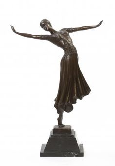 "Bronze art nouveau dancer on a marble vase .signed"" : Lot 68"