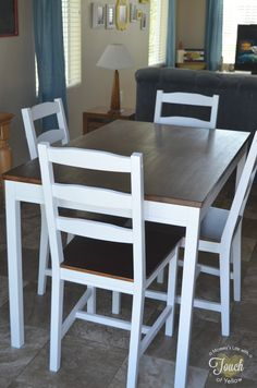 Ideas Kitchen Table And Chairs Makeover Ikea Hacks Ikea Dining Table, Kitchen Table Chairs, Kitchen Table Makeover, Stools For Kitchen Island, Blue Dining Room Chairs, Table And Chairs, Ikea Hacks, Comfortable Office Chair, Contemporary Dining Chairs