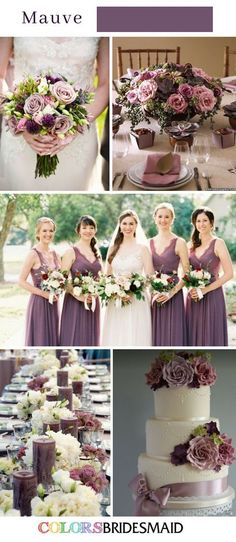 Purple Wedding Flowers Fall Wedding Colors with Purple Wedding Color Schemes (Mauve Wedding) - Purple is a perfect color for fall wedding. We here share 10 fabulous fall wedding color palette with various shade of purple for your inspirations! Romantic Wedding Colors, Mauve Wedding, Winter Wedding Colors, Fall Wedding Purple, November Wedding Colors, Purple Wedding Colors, Aubergine Wedding, Purple Style, Autumn Wedding