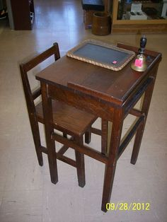 Child's Oak desk with Chair and ink well