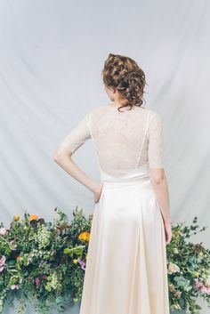 LARKSPUR // Bridal separates // By Kate Beaumont // Photography: India Hobson // Hair & MU: Jenn Edwards // Florals: Swallows & Damsons // Accessories: Debbie Carlisle