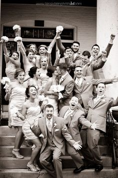 This is such a fun wedding party photo! we ♥ this! moncheribridals.com