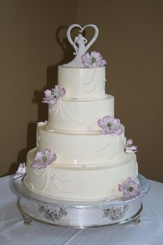 Simple Buttercream Wedding Cakes | Buttercream wedding cake with fondant details and lavender sugarpaste ...