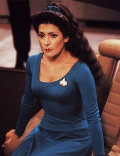 Deanna Troi's teal dress with view of headband