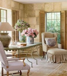beautiful living area with fabulous stone walls