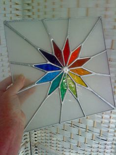 Starshine! Beautiful Rainbow Stained Glass Suncatcher Panel with Chain