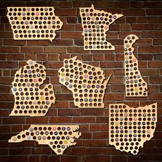 The perfect gift for the beer drinker, our United States beer cap map is laser cut right here in the heartland of America by the HomeWetBar team just for you. Ideal for saving all of the brewery beer caps that remind you of great times, this handsome USA Beer Cap Art, Beer Caps, Beer Cap Crafts, Craft Beer, The Ultimate Gift, Boyfriend Gifts, Gifts For Dad, Diy Gifts, Christmas Diy