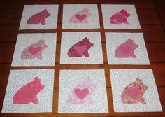 9 Chubby Pink Pigs w/Heart Quilt Top Blocks by Marsye. Diff shades of red and various embroidered Razorbacks, Sooie, Hogs, u of a