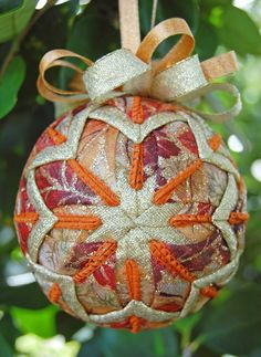 autumn sparkle quilted ornament