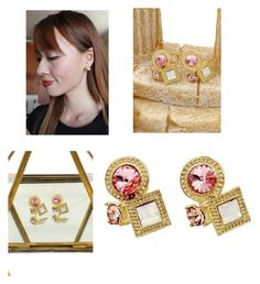 """Fashion golden rim pink crystal earrings"" by oceanfashion on Polyvore"