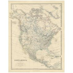 View this item and discover similar for sale at - Antique map titled 'North America'. Depicting Central America, West Indies, Mexico and more. This map originates from the 'Royal Atlas of Modern Geography' North America Map, Central America, World Map Art, West Indies, Vintage World Maps, American, Antiques, Modern, Products