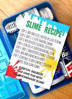 DIY Slime Kits {Easy Fluffy Slime that's AWESOME!} Put together a fun and easy DIY Slime Kit in minutes with the free printables I've created just for you. It's the perfect gift for kids. Slime Kit, Diy Slime, Edible Slime, Tackle Box, Ghostbusters Party, Mad Scientist Party, Party Favors, Science Party, Science Ideas