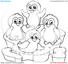 Penguin Coloring Pages Cartoon Clipart Of A Black And White Happy ...