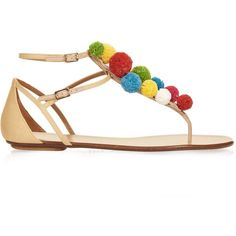 Aquazzura Raffia Pon Pon flat sandals ($563) ❤ liked on Polyvore featuring shoes, sandals, braided sandals, beige sandals, red sandals, t strap shoes and multi colored sandals