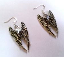 angel wing cross earrings by GothicLucia