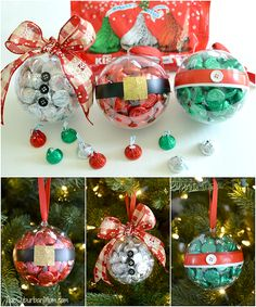 Easy DIY Christmas Ornaments made with Hershey's Kisses. Great small Christmas gift idea for teachers, neighbors and friends.