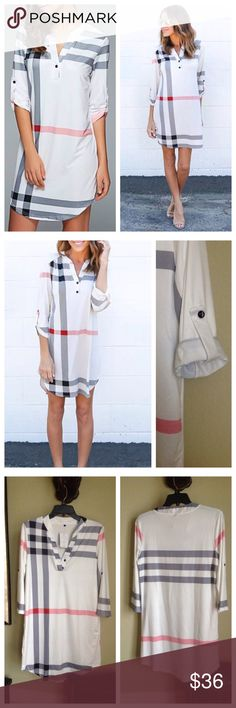 """Super cute plaid mini dress/tunic White plaid dress approx. 35"""" from the shoulder.  Can be worn as a tunic with leggings or skinny jeans....soooo cute!  😊 3/4 length sleeves that can be buttoned up with the sleeve tab.  I bought this from another posher's boutique line.  It is brand new with the tag!  Chest measures 19 from armpit to armpit.  Fabric is a poly/spandex blend.  There is no care tag, but I would assume cold wash on delicate cycle and line dry. 🌸 Dresses Mini"""