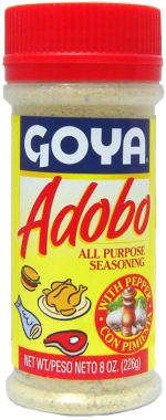 Adobo Goya Seasoning Copycat Recipe  --  2 TBSP salt (I use Kosher salt) 1 TBSP ground black pepper 1 TBSP garlic powder 1 TBSP dried oregano 1 TBSP turmeric  --  Directions: Mix all spices into an airtight container and give it a good shake. If you have a spice grinder, that would give you the same feel as Goya Adobo, but I kind of liked the coarse blend. - Consider The Leaf Turned