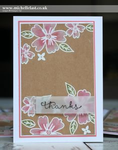 """Lovely handmade thank you card using the newly released Love and Affection stamp set. White embossed on kraft paper and colored with an aqua painter and dye inks. The final touch is """"thanks"""" stamped on a piece of vellum."""